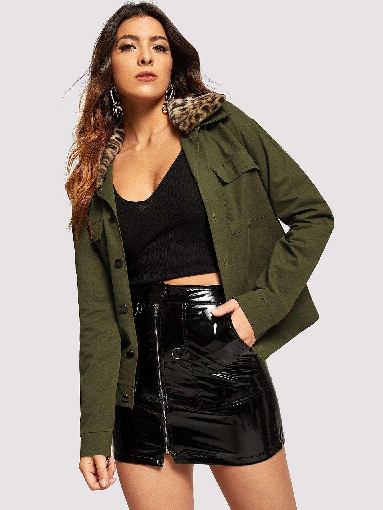 Купить Цветахаки на пуговицах Одноцветный Повседневный Жакеты + Куртки, DANI A, SheIn