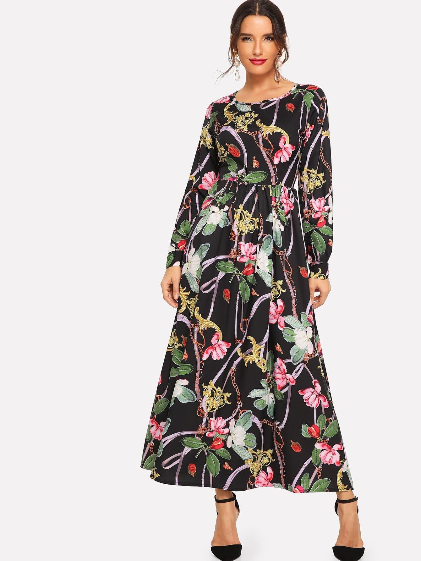 Купить Длинное платье с присборенными у манжета рукавами и цветочным принтом, Juliana, SheIn