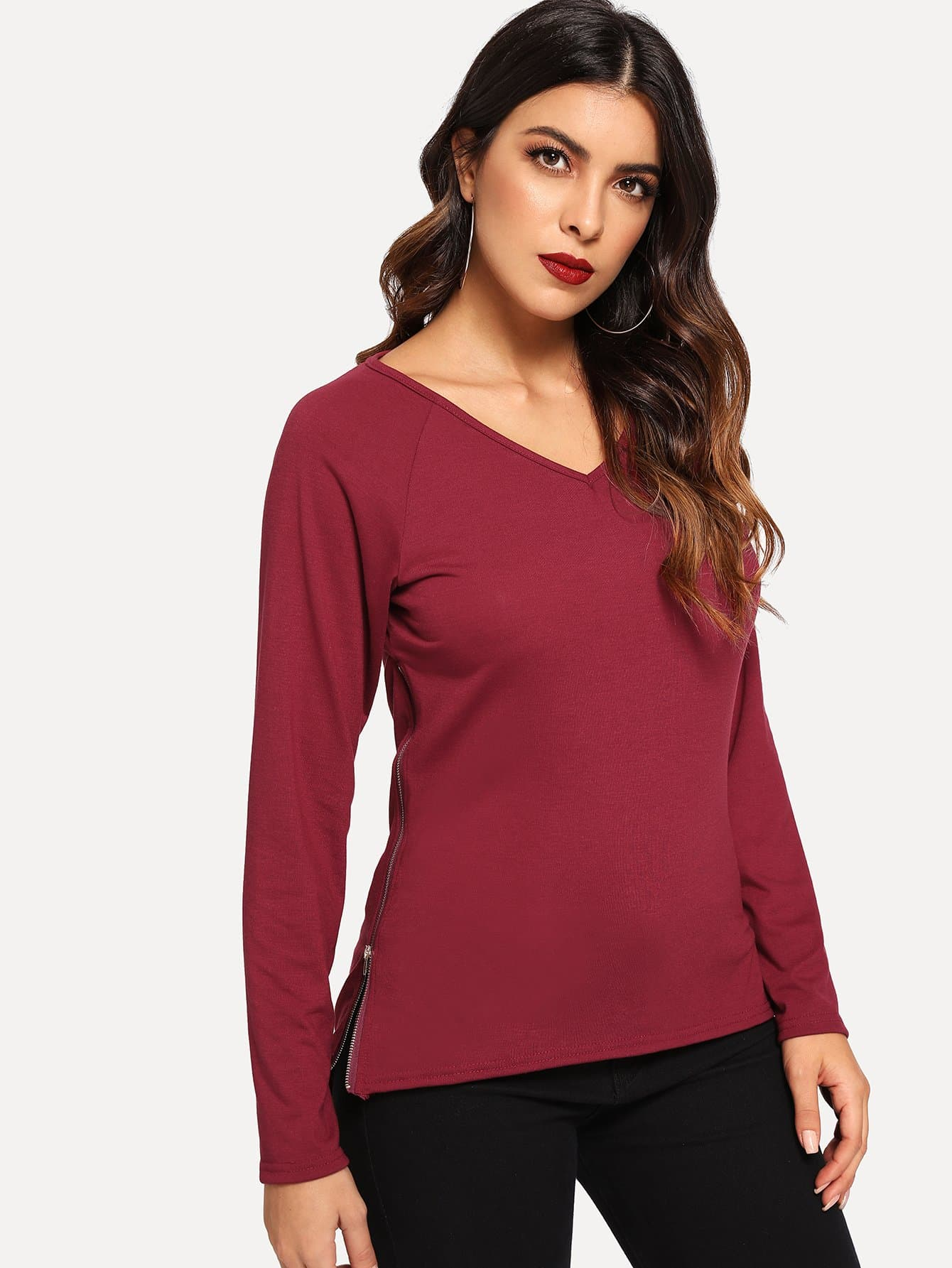 Купить Асимметричная блуза с рукавом-регланом и застёжкой молния, Dani, SheIn