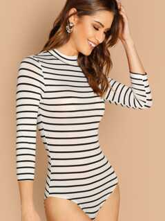 Mock Neck Slim Striped Bodysuit