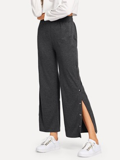 Elastic Waist Button Solid Pants