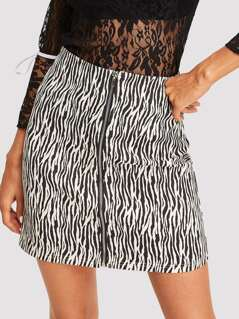 Animal Print Zip Up Skirt
