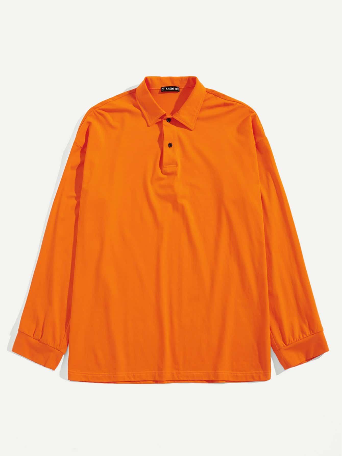 Купить Мужская однотонная поло рубашка с заниженной линией плеч, null, SheIn
