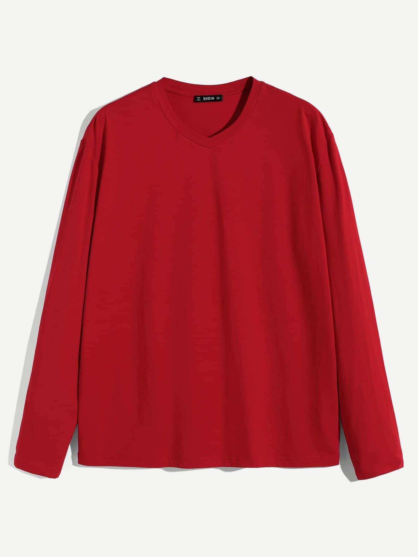 Купить Мужская однотонная футболка с v-образным вырезом, null, SheIn