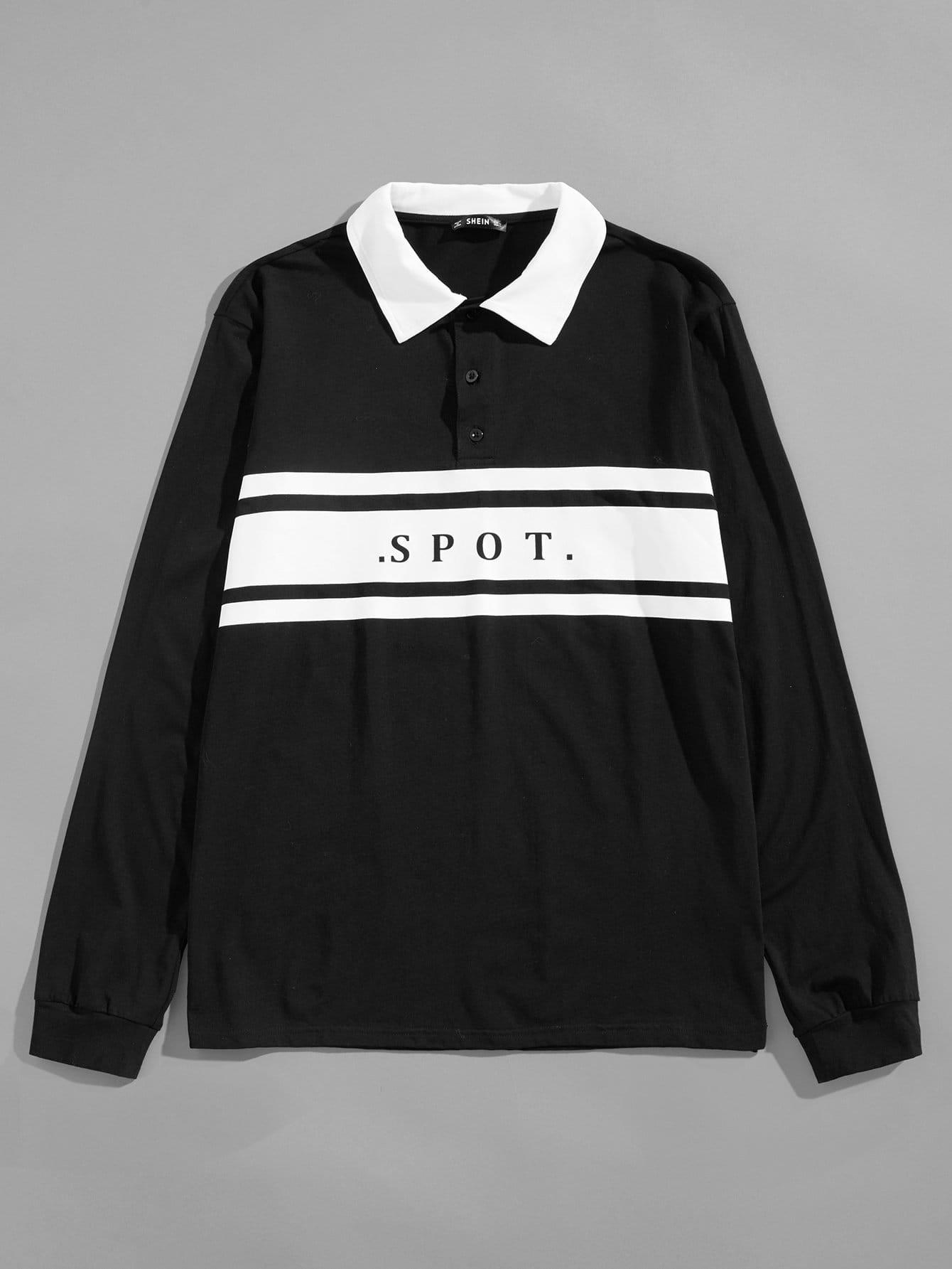 Купить Мужская поло рубашка с контрастным вырезом, null, SheIn