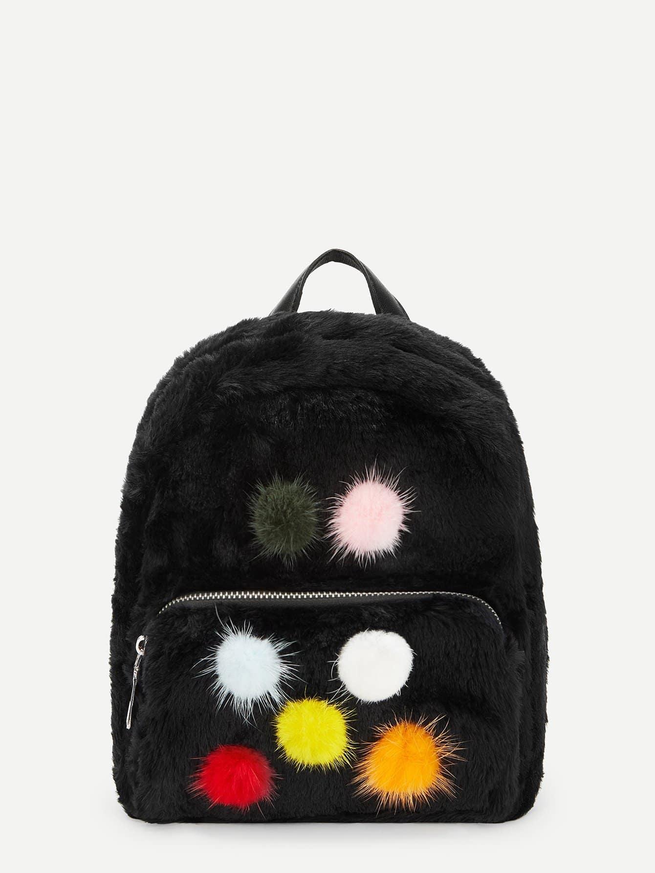 Купить Рюкзак с помпоном и искусственным мехом для детей, null, SheIn