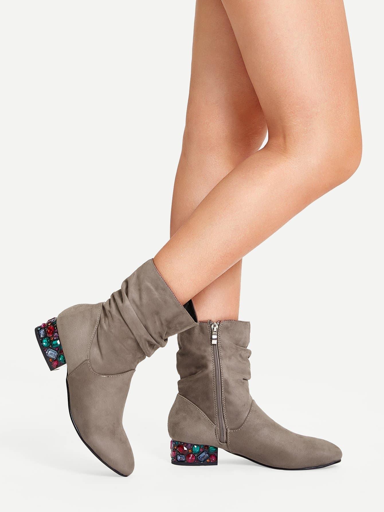 Фото - Ботинки со стразом от SheIn серого цвета
