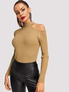 Cut Out Shoulder Form Fitting Rib Sweater