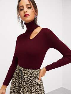 High Neck Cut Out Shoulder Fitted Jumper