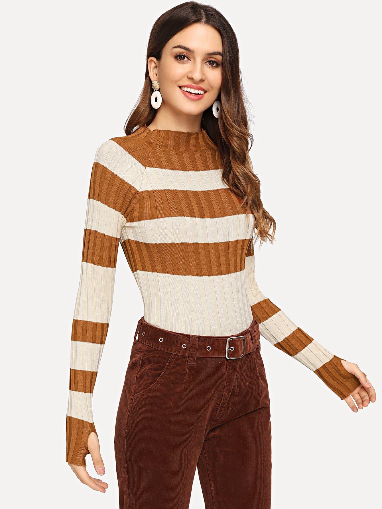 Купить Контрастный свитер со стоячим вырезом, Jana, SheIn
