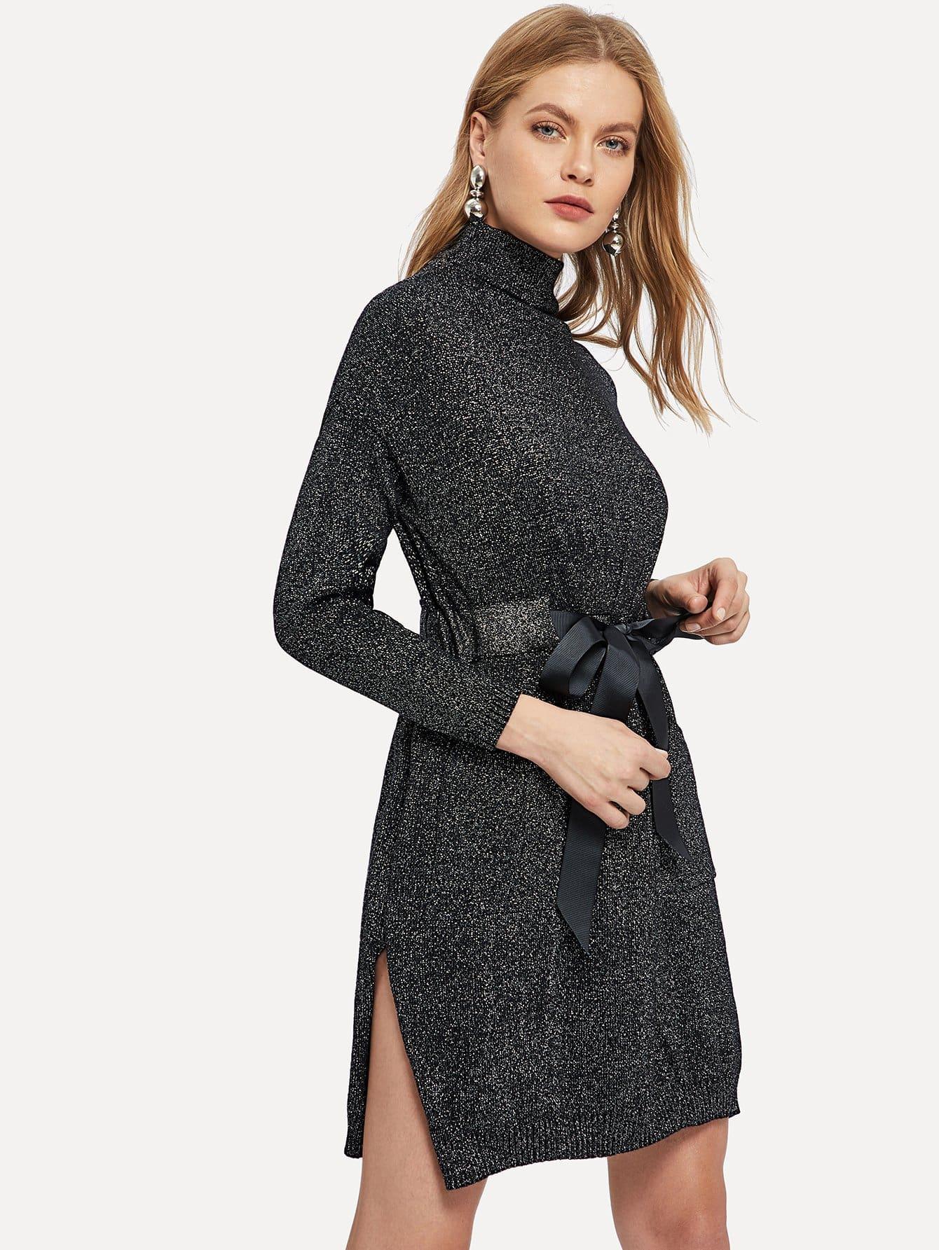 Купить Сплит-боковое платье-свитер с узлом, Kate C, SheIn