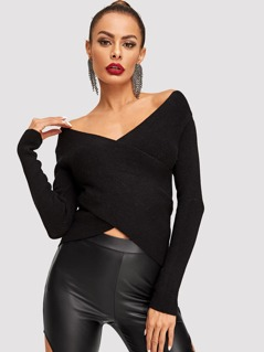 Cross Wrap Form Fitted Bardot Jumper