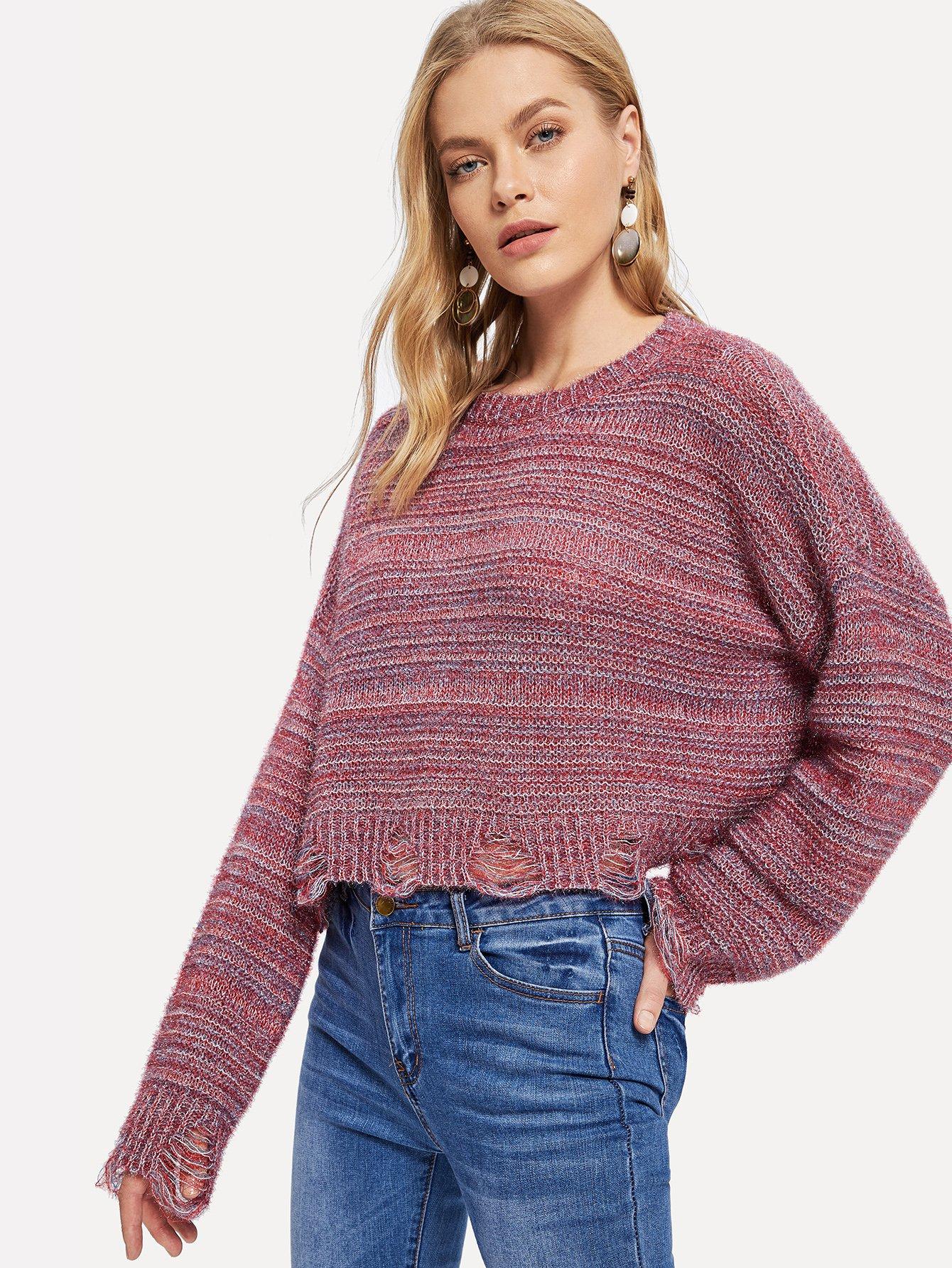 Купить Рваный свитер с заниженной линией плеч, Kate C, SheIn