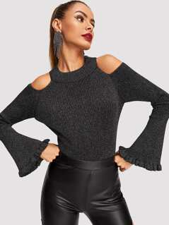 Trumpet Sleeve Cut-out Shoulder Sweater