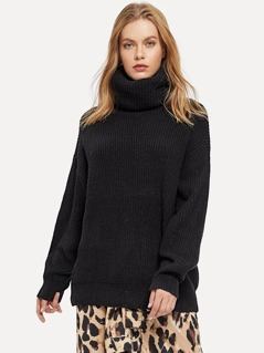 Rolled-up Neck Solid Sweater