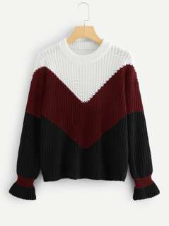 Flounce Cuff Color-block Sweater