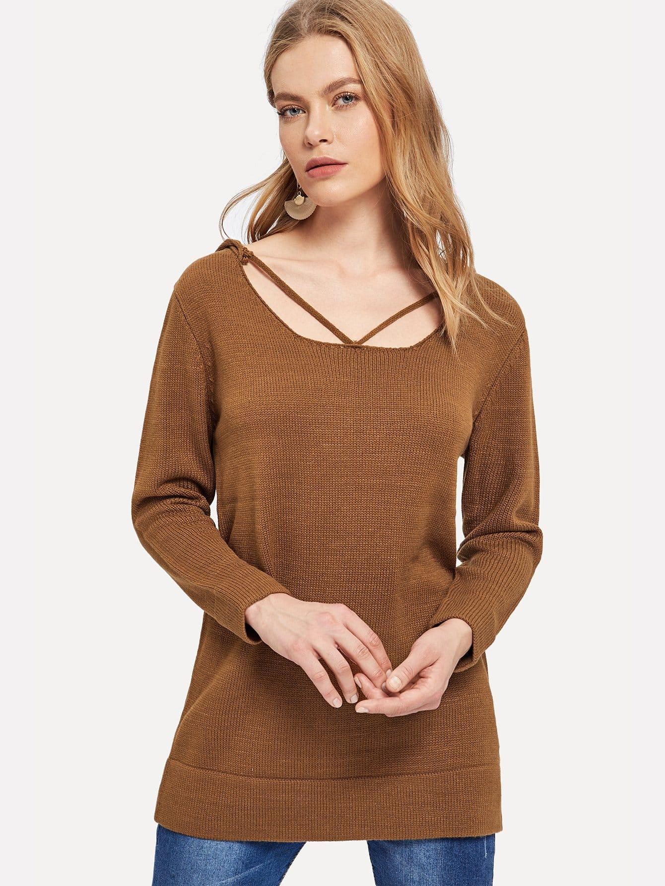 Купить Однотонный свитер с капюшоном и лентой на воротнике, Kate C, SheIn