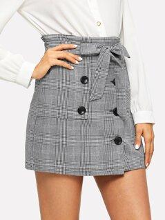 Waist Belted Button Plaid Skirt