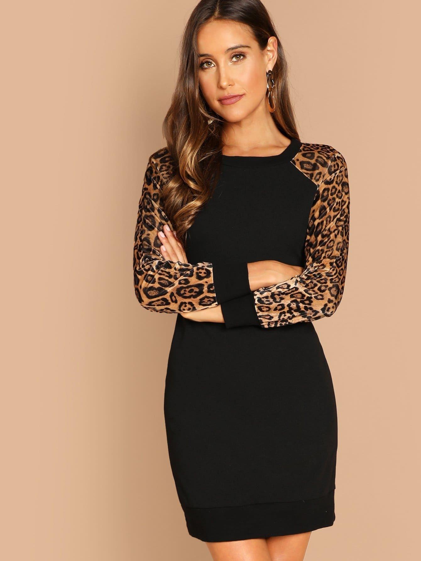 Купить Бархатное платье с рукавами реглан леопарда, Anna Herrin, SheIn