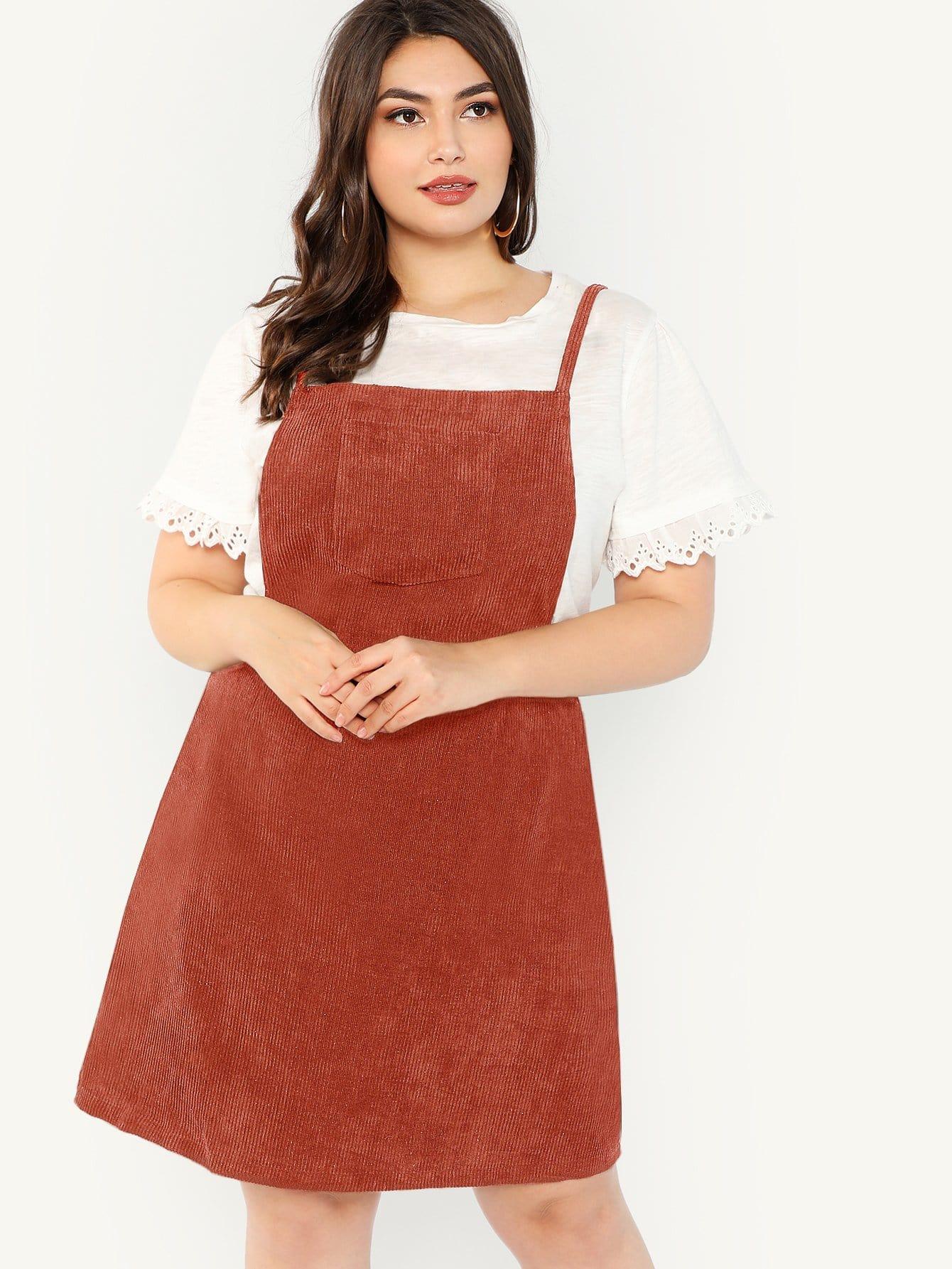 Размер плюс вельветовое платье-сарафан с карманом SheIn