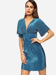 Twist Front Ribbed Metallic Dress