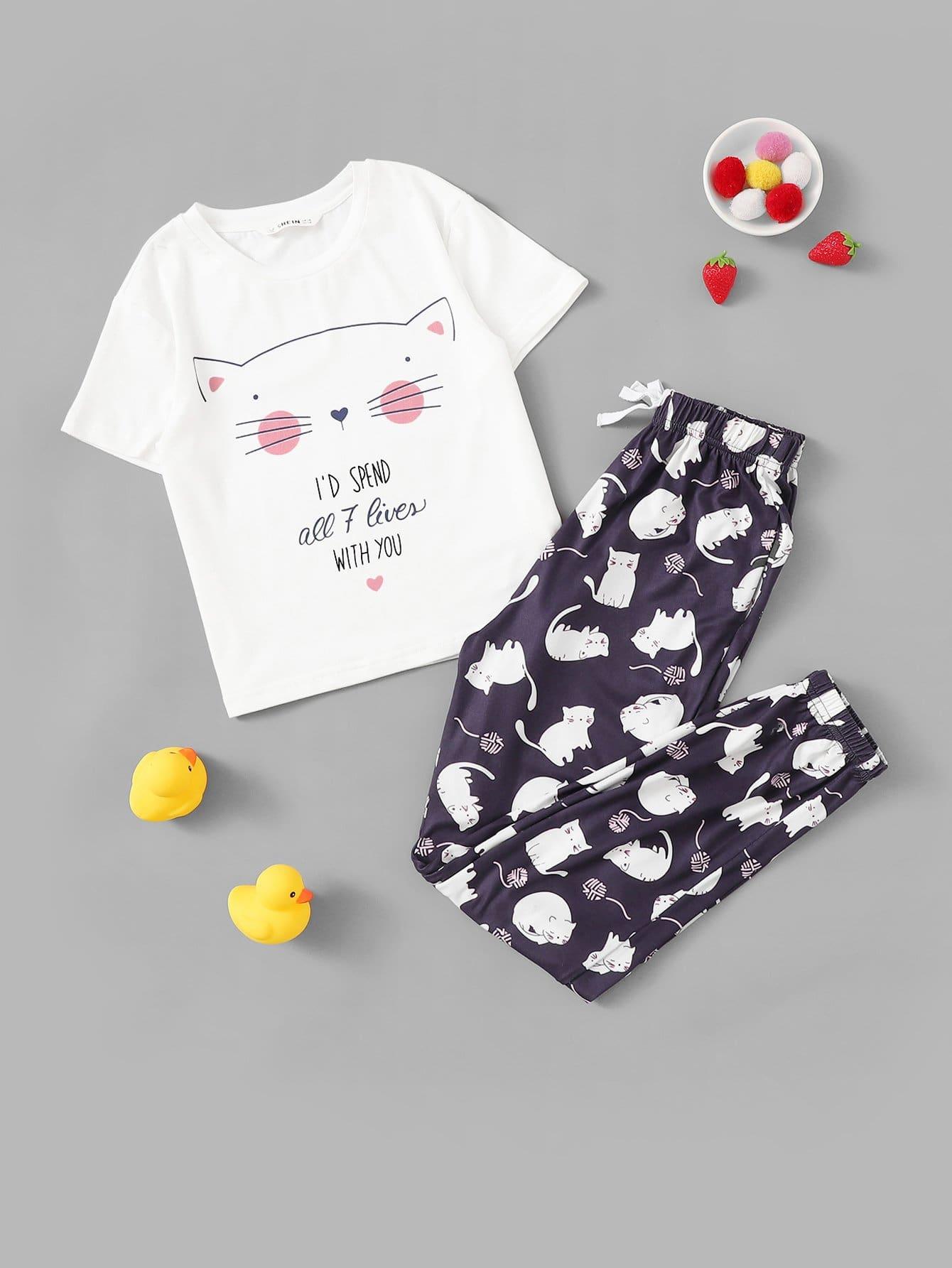 Пижамный комплект топ с мультяшным принтом и брюки для девочек от SheIn