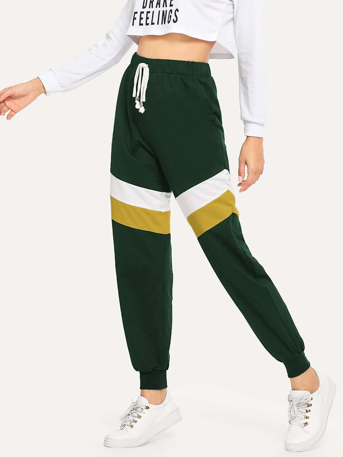Купить Контрастные брюки с кулиской, Mary P., SheIn