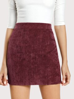 Solid Corduroy Bodycon Skirt