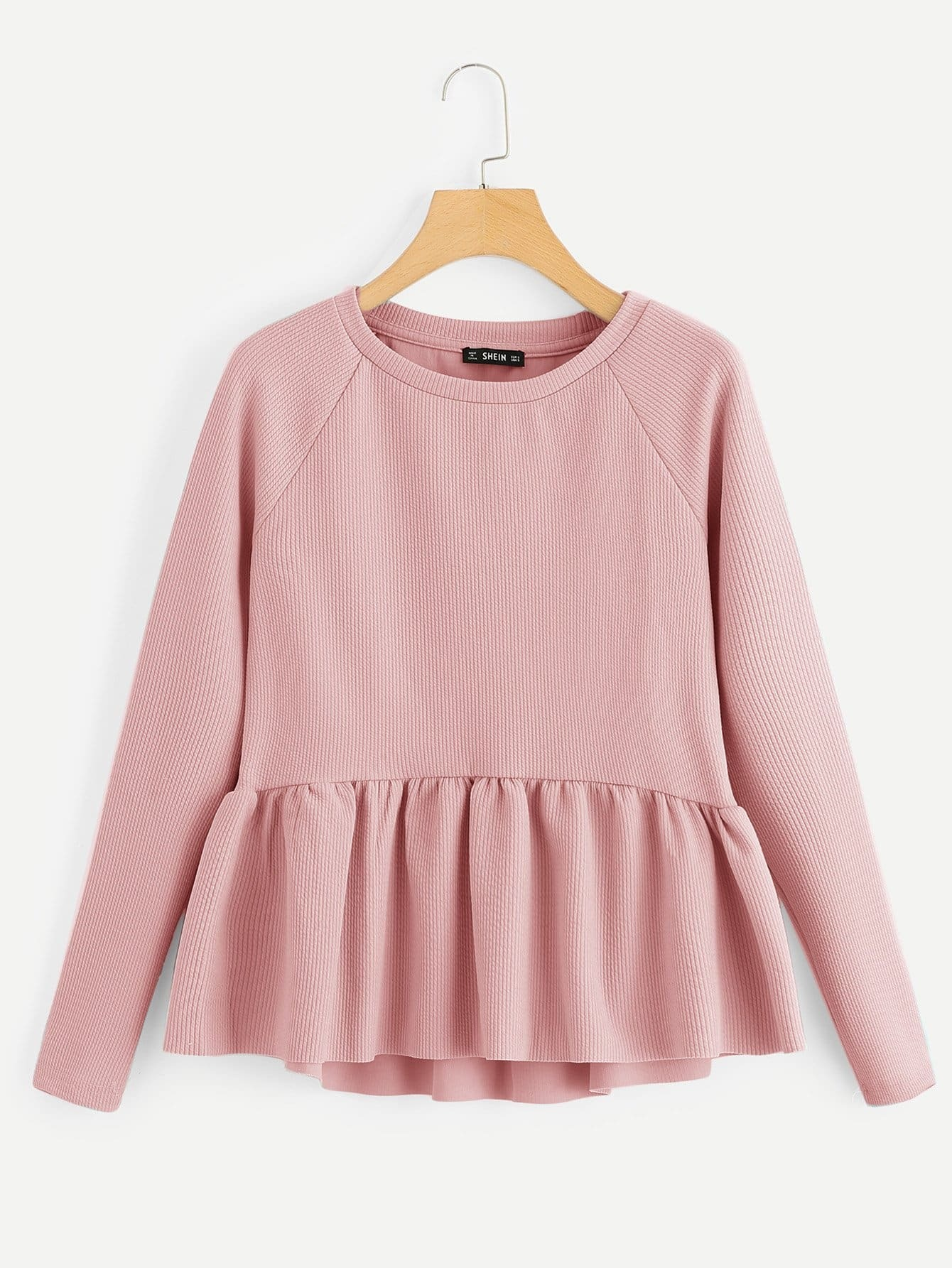fcad1bed95e1a8 Raglan Sleeve Textured High Low Smock Sweatshirt | MakeMeChic.COM