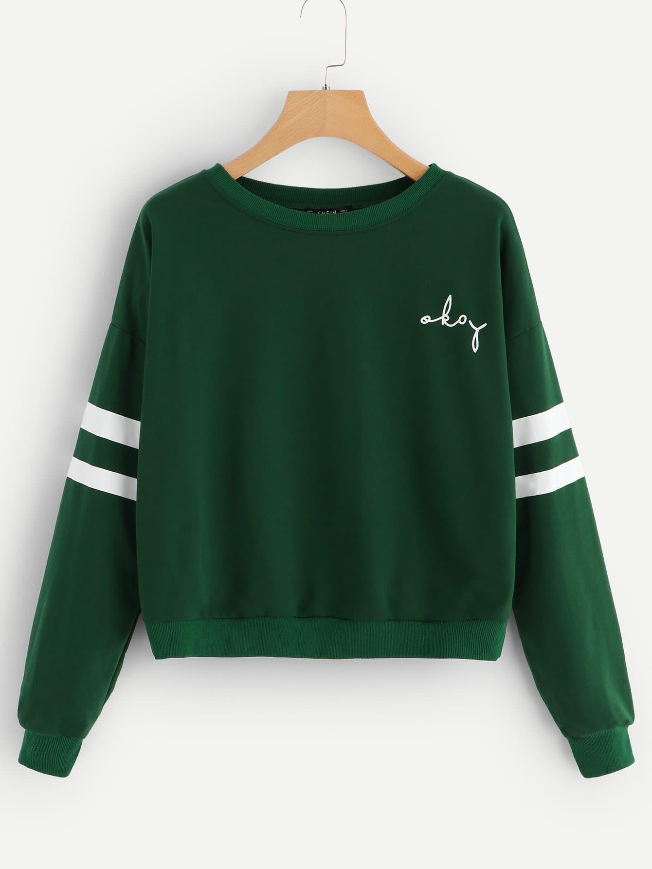 Фото - Пуловер с заниженной линией плеч с полосатым рукавом от SheIn зеленого цвета