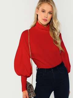 Mock Neck Leg-of-Mutton Sleeve Solid Pullover