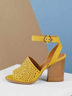 Laser Cut Out Detail Ankle Strap Heeled Sandals