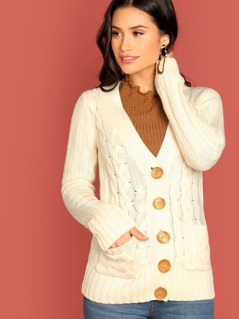 V-Neck Button Front Cable Knit Cardigan Sweater