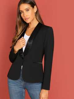 Single Button Satin Collar Classic Blazer