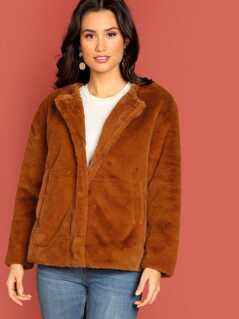 Button Front Side Pockets Faux Fur Jacket
