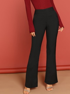 Slant Pocket Flare Leg Solid Pants