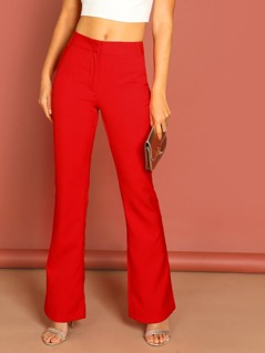 Mid Rise Side Pocket Flared Leg Trousers