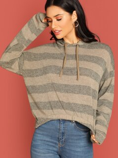 Drawstring Hood Striped Pullover Knit Sweater