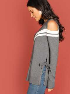 Varsity Stripe Shoulder Cut-Out Side Tie Sweater