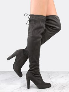 Faux Suede Chunky Heel Thigh High Boots