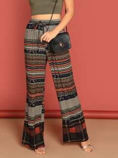 Tribal Print Wide Leg Pants