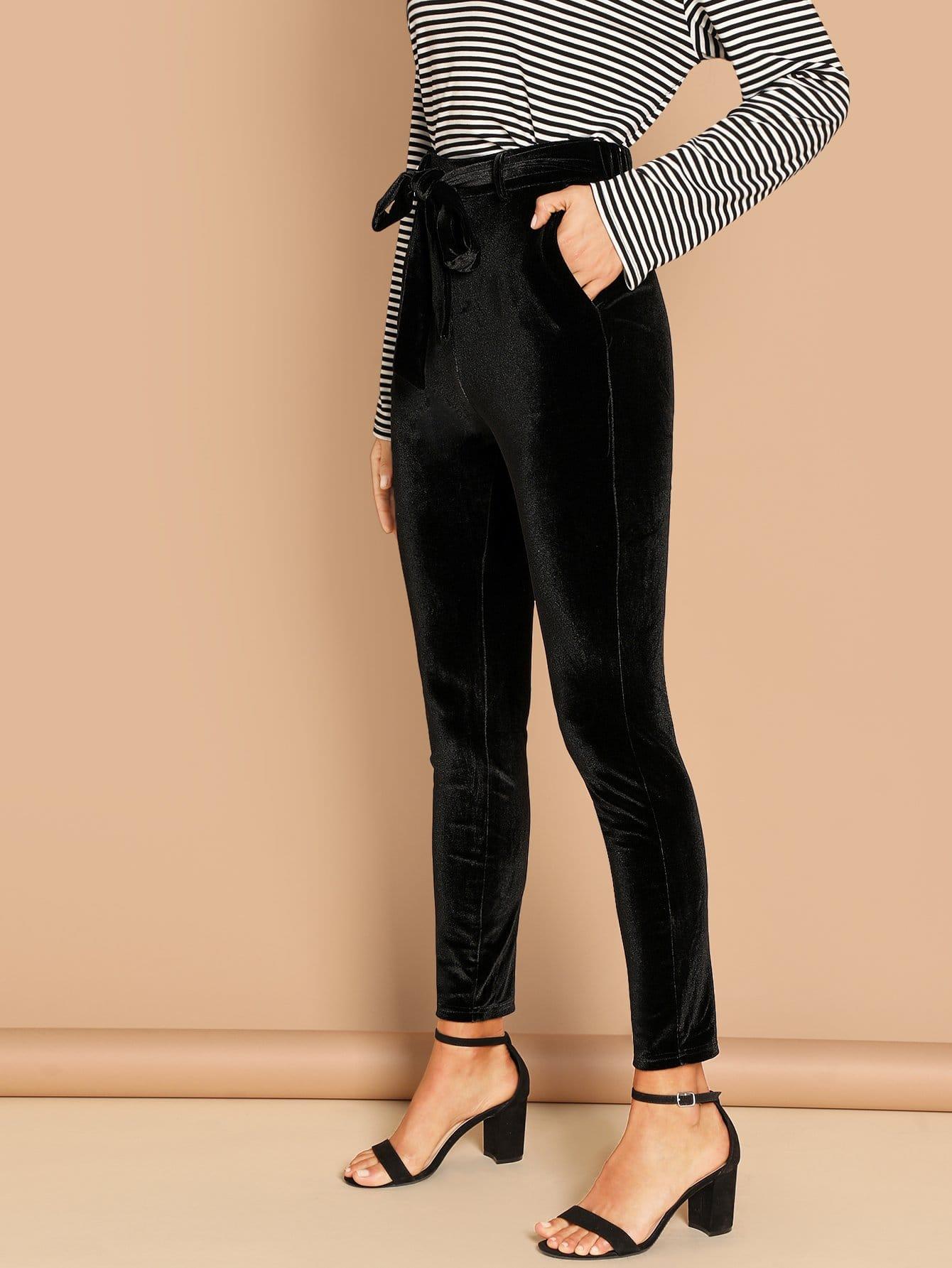 Купить Одноцветные брюки с завязкой на талии, Anna Herrin, SheIn