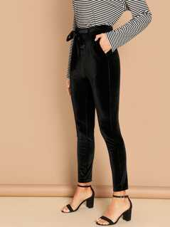 Waist Belted Cord Pants