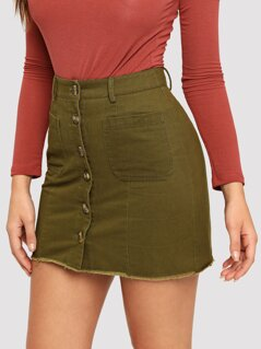 Pocket & Button Front Bodycon Skirt