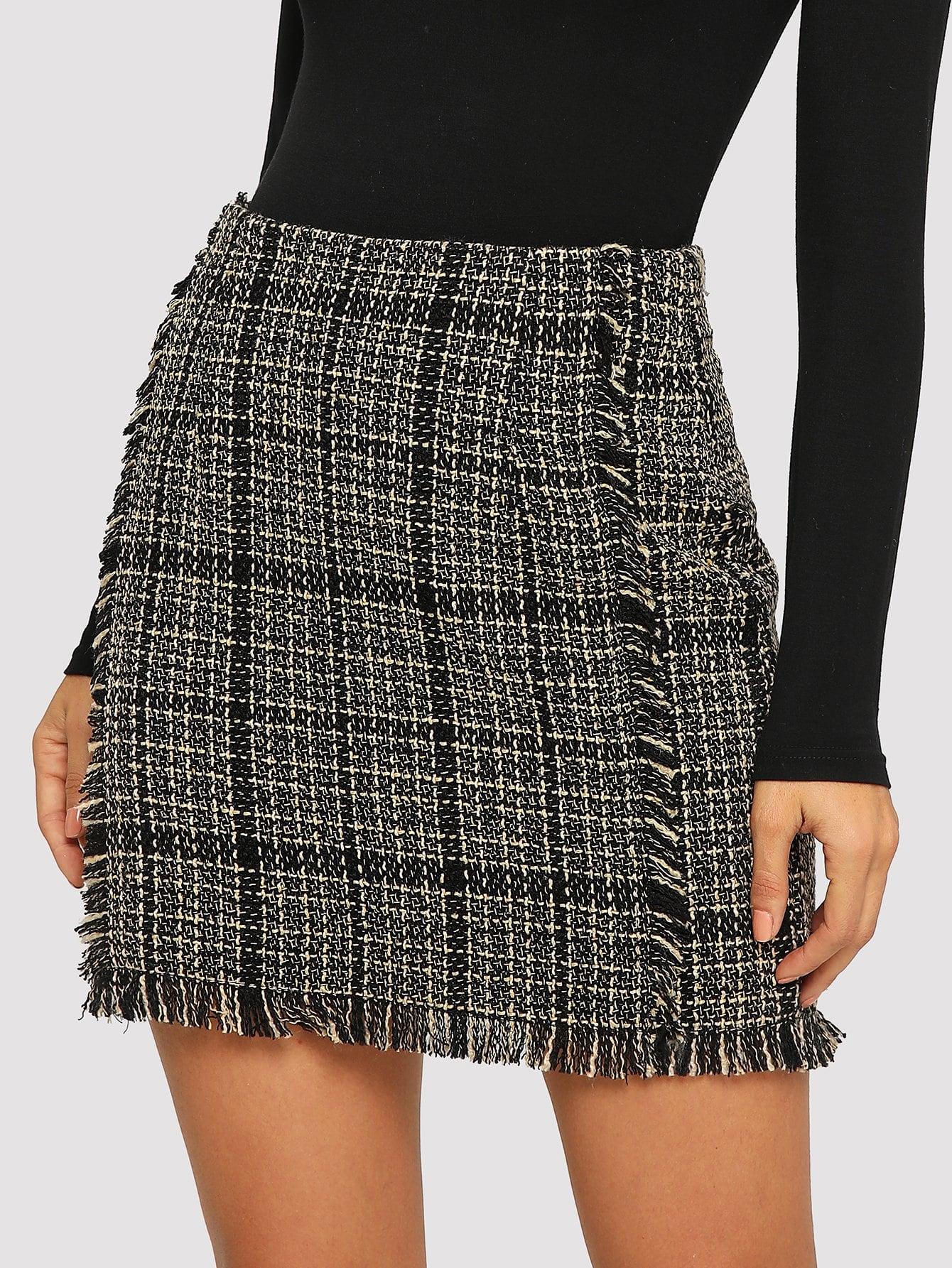 Купить Твидовая юбка в клетку со сырыми оторочками, Juliana, SheIn
