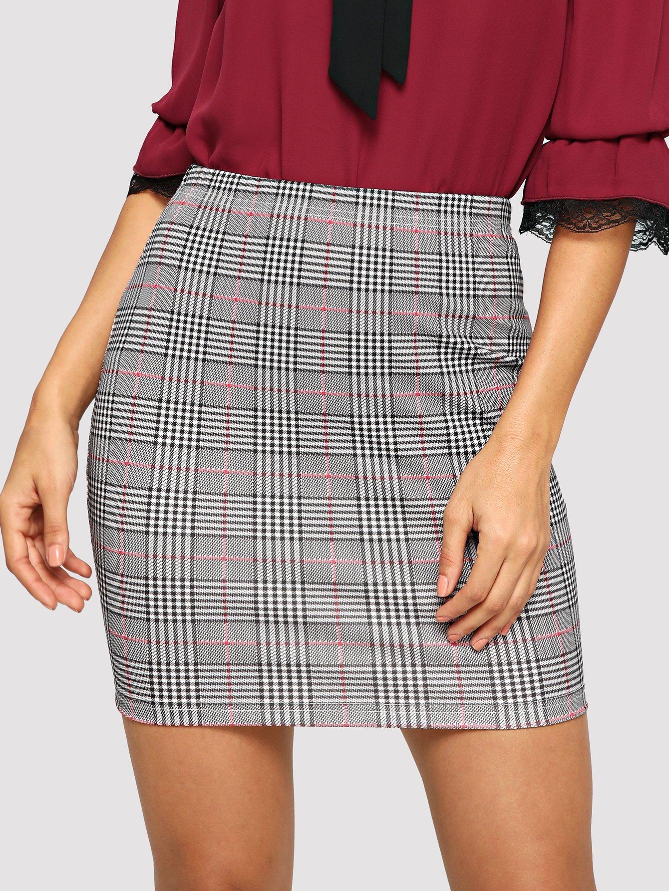 Купить Стильная юбка в клетку, Juliana, SheIn