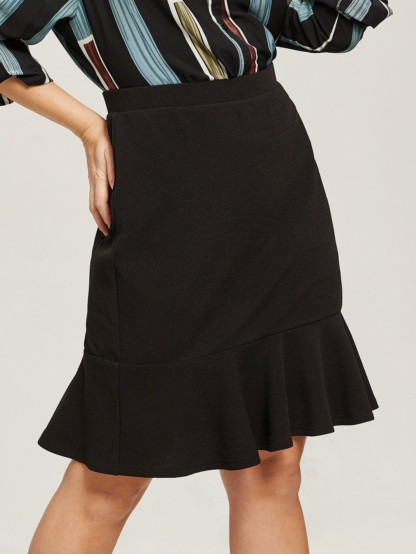 Купить Однотонная юбка-рыба размера плюс, Isabela, SheIn
