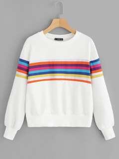 Random Rainbow Stripe Pullover