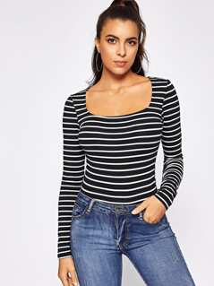 Square Neck Striped Tee