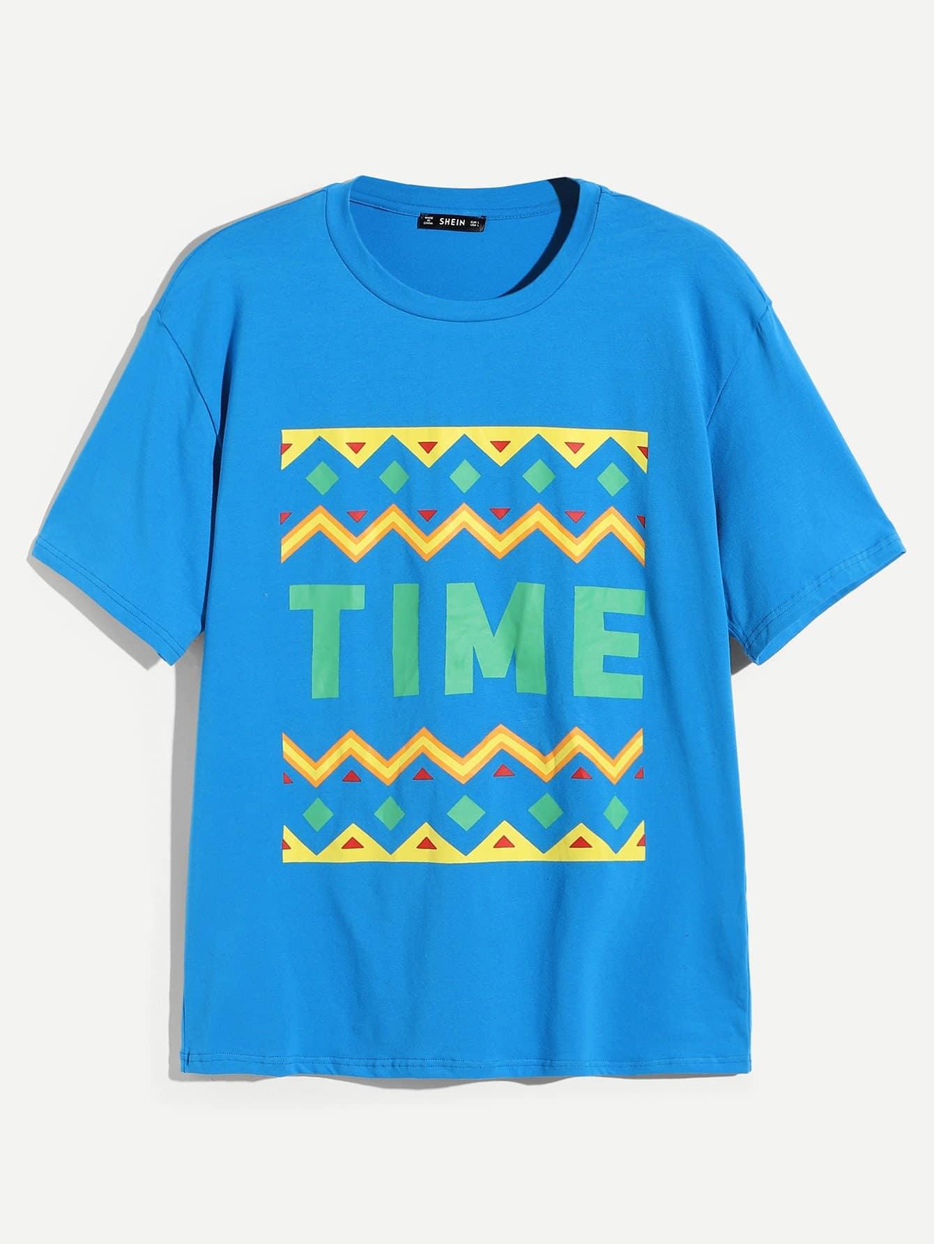 Фото - Для мужчин туника футболка с текстовым принтом от SheIn синего цвета